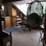 Double Attic Bedsit with hanging basket chair